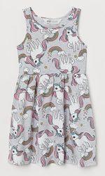 Яркое летнее платье сарафан H&M единорог девочкам 2-4 и 8-10 лет