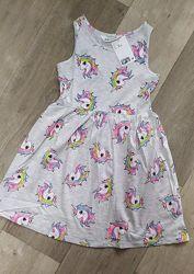Новинка яркие летние сарафаны платья H&M единороги девочкам