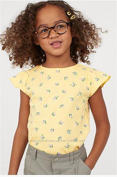 Милые лимонные футболочки H&M цветочный принт