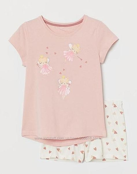 Суперская пижамка H&M футболка шорты принт котофеечки девочкам
