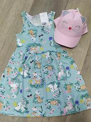 Милые хлопковые платья H&M девочкам 2-10 лет