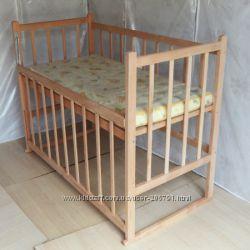 Детская новая нелакированная кроватка Малыш, ольха