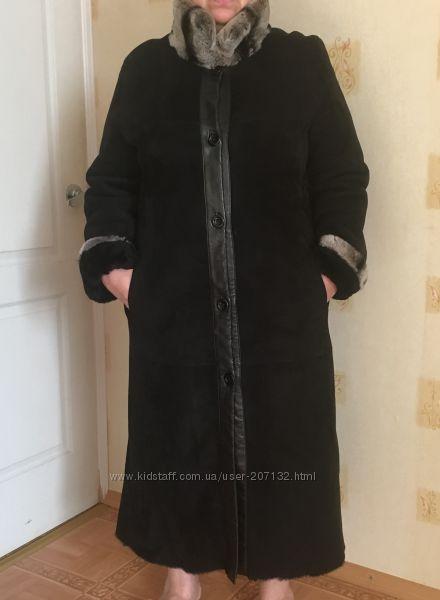 Женская черная дубленка 52-54р с натуральным мехом