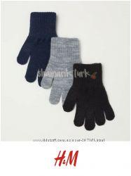 Комплект 3 и 2 пары перчаток 110-128см, 134-170см от h&m