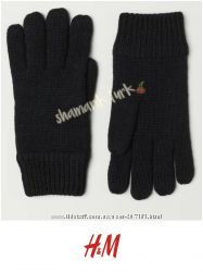 Зимние вязаные двухслойные перчатки  24 шерсть от h&m