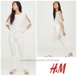 Белые джинсы скинни от h&m