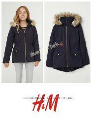 Утепленная парка куртка курточка с капюшоном еврозима от h&m