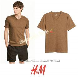 Горчичная футболка Слим фит хлопок xs от h&m