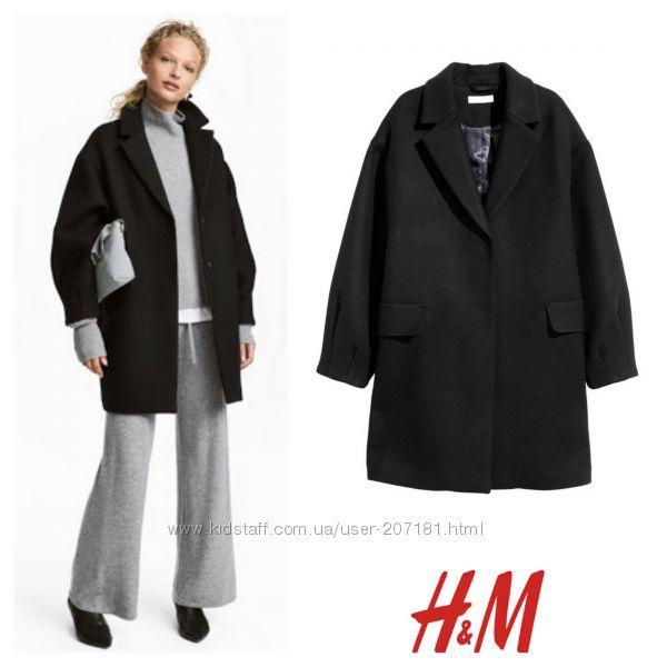 Пальто демисезонное еврозима оверсайз бойфренд 40 шерсти от h&m