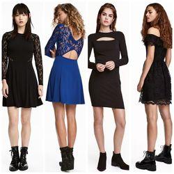 Платье 8 видов кружевнные, трикотажные от h&m