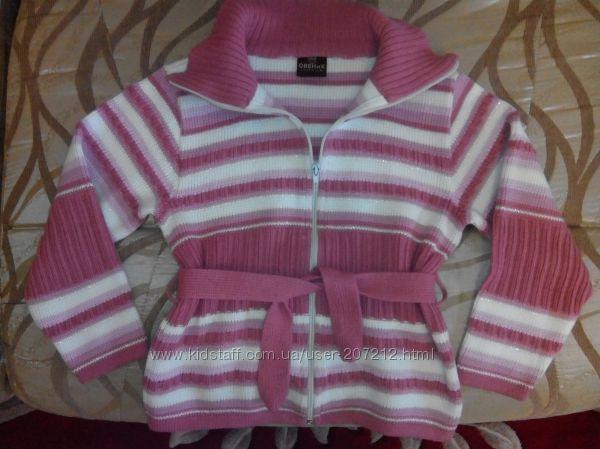 Модная кофта- кардиган для девочки на 7-9 лет.