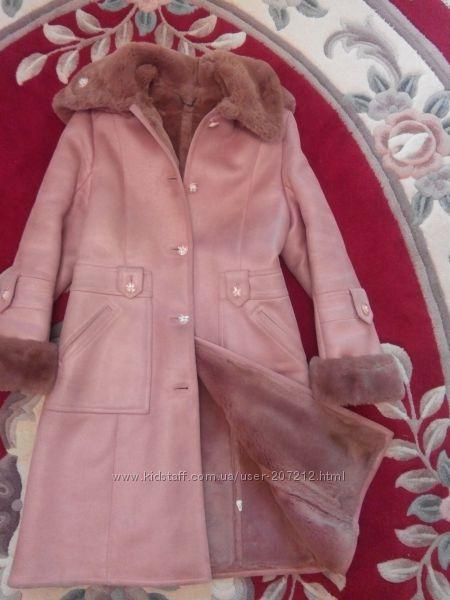 Дублёнка  стильная красивая тёплая  розового цвета.