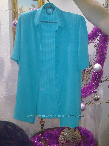 Блузка женская с коротким рукавом яркая бирюза.