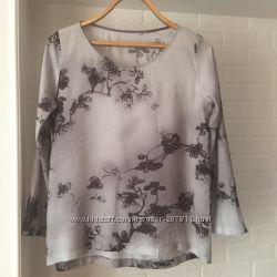 Серая блуза туника с оригинальным рисунком размер С-М наш 42-44