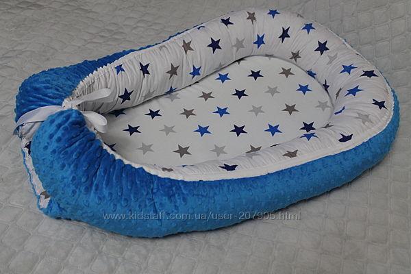 Кокон - позиционер Звезды утепленный плюшем Minky  подушка