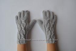 Вязаные перчатки из полушерсти