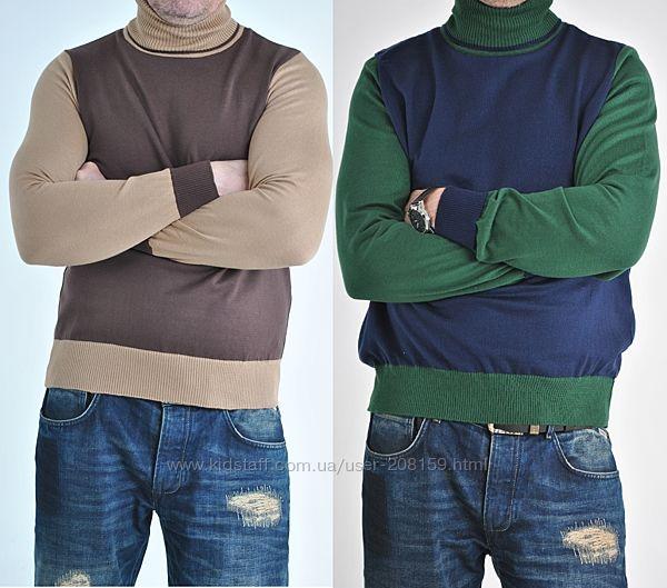 Дизайнерские двухцветные итальянские гольф свитера для мужчин