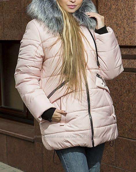 Зимние куртки средней длины, много цветов и размеров
