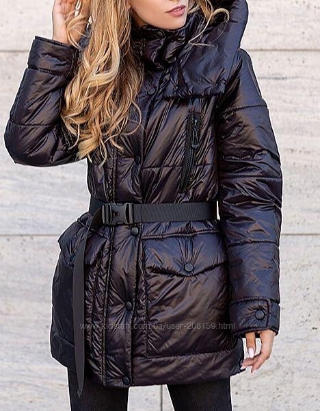 Демисезонные удлиненные куртки со съемным поясом