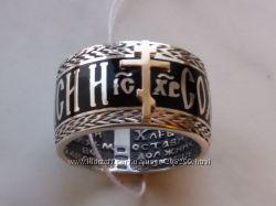 Кольцо Спаси и сохрани. Серебро с золотом