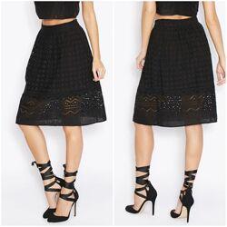 Новая миди юбка Miss Selfridge XS 34 черная с перфорацией