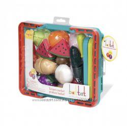 Игровой набор для двоих - Овощи-фрукты на липучках в корзинке