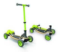 Детский самокат Smoby Toys с металл рамой четырехколесный Зеленый 750700