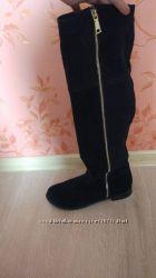 Замшевые черные ботфорты  сапоги  38 размер