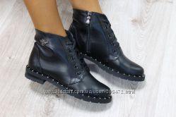 Демисезонные ботинки натуральная кожа, на молнии