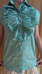 Блузка в клетку бело-зеленая, цена снижена