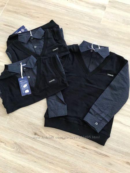 Обманочки  рубашка-жилетка. 110, 116, 122, 128,