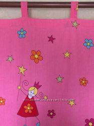 Ярко-розовые шторы в детскую принцессы