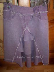 Оригинальная льняная юбочка лавандового цвета