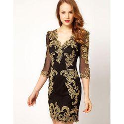 Шикарное черное платье с вышивкой золотом D&G