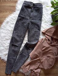 Серые джинсы с высокой посадкой h&m, джинсы с дырками