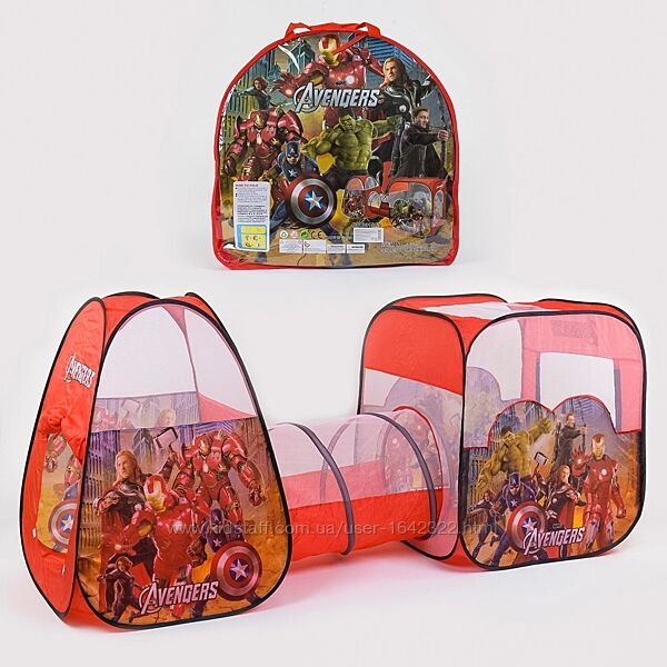 Палатка с туннелем 8015 AS Мстители 270-92-92 см, 2 входа, окна-сетки, в су