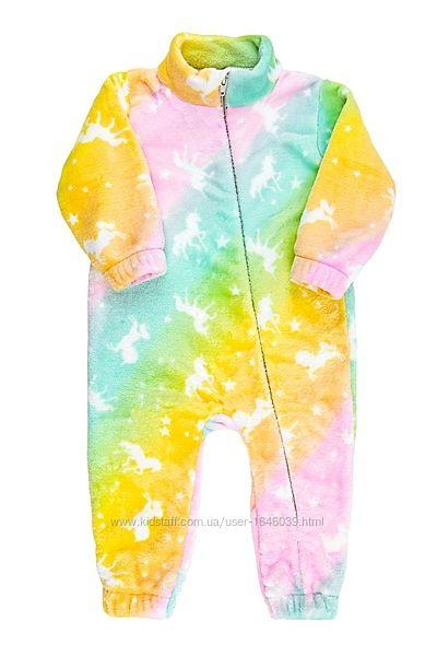 4 цвета Теплый плюшевый комбинезон ромпер для мальчика девочки р.80-98