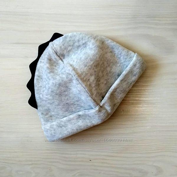 Next демисезонная велюровая шапка для мальчика девочки на 3-6мес двойная
