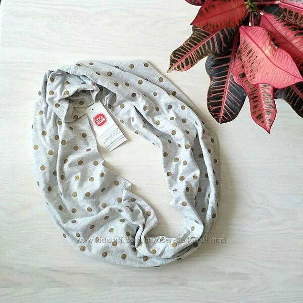 Снуд хомут шарф восьмерка для девочки серый в золотой горошек
