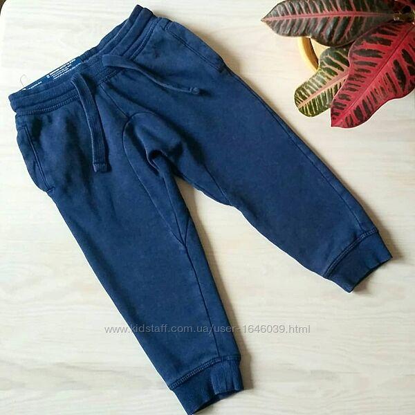 Тёплые спортивные штаны джоггеры утеплённые на флисе для мальчика 1-2 года