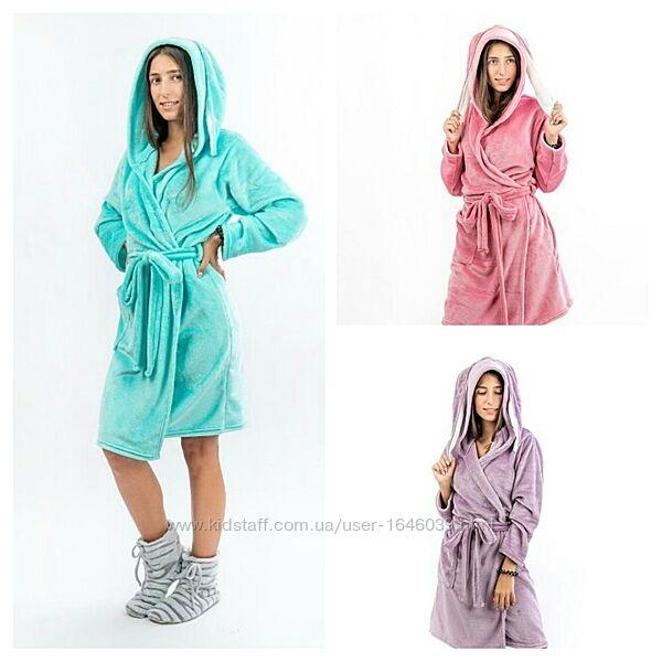 Теплый плюшевый подростковый халат для девочки 140-164 девочек подростков
