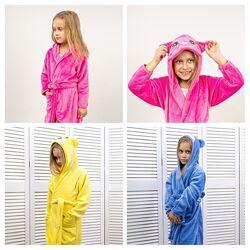 Тёплый детский плюшевый халат махровый для мальчиков и девочек теплий