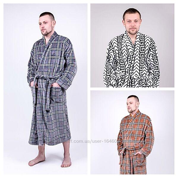 Мужской домашний тёплый халат длинный плюшевый махровый чоловічий домашній