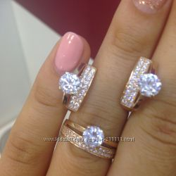 золотые серьги и кольцо