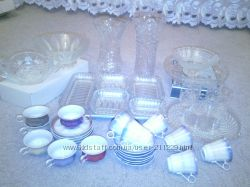 Хрусталь вазы, салатницы, коф. сервизы, шкатулки