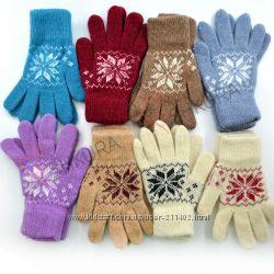 Шерстяные перчатки, варежки женские
