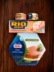 Тунець Nixe i Rio цілий а також Печінка Тріски, Анчоуси, Вялені помідори