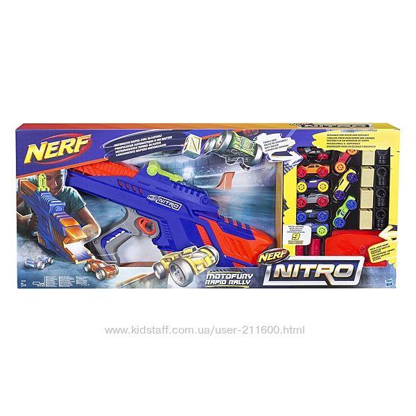 Мега пушка Нерф нитро Бластер Nerf Nitro  9 машинок MotoFury Rapid Rally