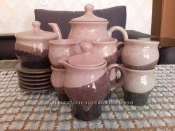 Кофейный глиняный натуральный сервиз
