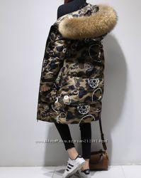 Качественный женский пуховик в стиле Хаки стиль этого сезона